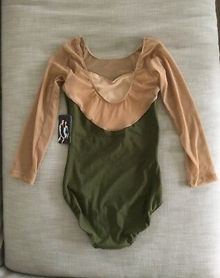 NEW WITH TAGS! Eleve Leotard Large Vinzant Olive Tan Mesh3/4 Sleeves