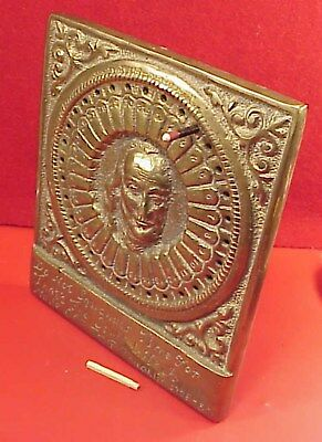 VINTAGE BRASS BENJAMIN FRANKLIN 5.5 X 6.5in DAY CALENDAR EARLY STYLE 1800s