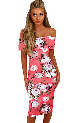 5ed42ef7fbc CALI CHIC JUNIORS  Dress Celebrity Pink Multi Floral Bardot Bodycon ...