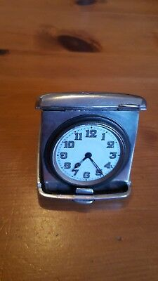 antique hall marked silver travel clock