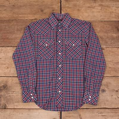 "Mens Vintage Levis Big E Blue Long Sleeve Western Check Shirt Small 34"" R8184"