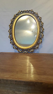 Vintage Antique Ornate Gold Oval Mirror Syroco Shabby Chic Make Up Dresser Wall