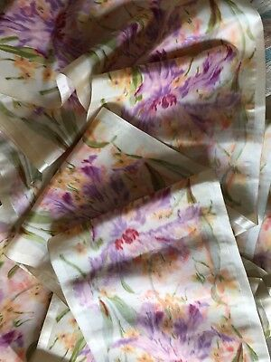 """Antique 1800's Silk Ribbon French Ikat Floral Print Excellent 1 Yard X 9""""3/4"""