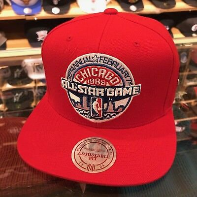 los angeles 5f675 4274d Mitchell   Ness NBA All Star Game 1988 Chicago Snapback Hat RED Bulls Patch