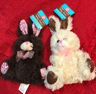 Lot Of 2 Soft Stuffed Plush Animal Chocolate Scented Easter Bunny Rabbit