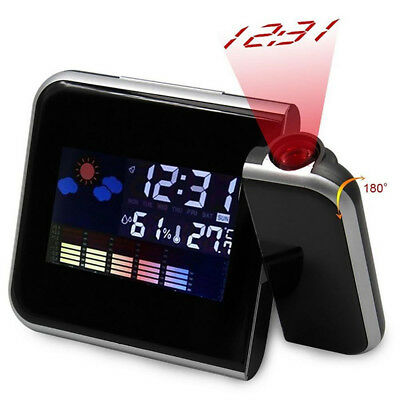 Projection Digital Weather LCD Projector Snooze Alarm Clock LED Color Display