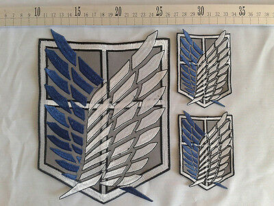 3PCS Attack on Titan Cosplay Scouting Legion Recon Corps Badge Patchs Embroidery