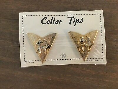 Vintage Collar Tips Still in Original Packaging F.L.W. Gold Man Lady Dancing