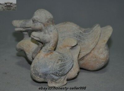 "6"" Rare Chinese Old Jade Hand-Carved Feng shui Wealth Lucky Ducks Duck Statue"