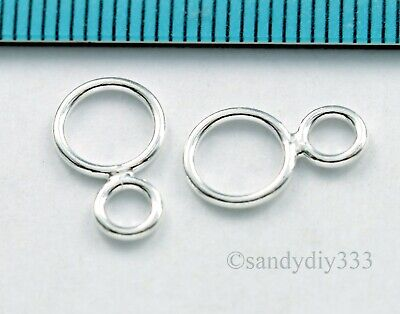 6x STERLING SILVER CLOSED MOTHER CHILD DOUBLE CONNECTOR JUMP RING 8mm 5mm N812
