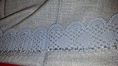 "1 HM powder blue 3"" crocheted perimeter linen center scarf runner doily 14 x 29"