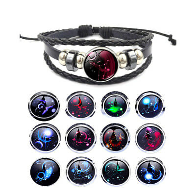 NEW 12 Constellation Zodiac Round Bracelet Unisex Jewelry Leather Pendant Bangle
