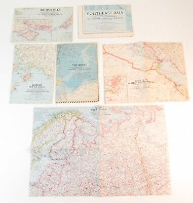 Vintage 1950s National Geographic Magazine World Maps Lot of 6
