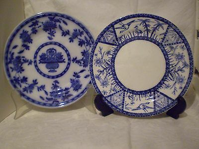 Asprey London & Globe Pottery Co.ltd.plates X 2 (Two)Flow Blue/ Blue And White