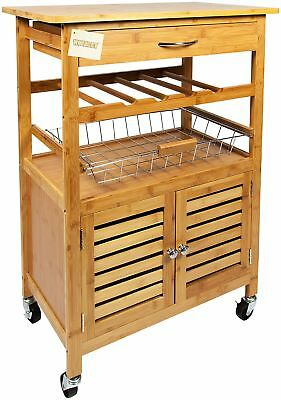 Bamboo Kitchen Storage Trolley Cart Drawer Wine Rack Wire Basket Cabinet  sc 1 st  PicClick UK & WOODLUV BAMBOO Kitchen Storage Trolley Cart with Drawer u0026 Wire ...
