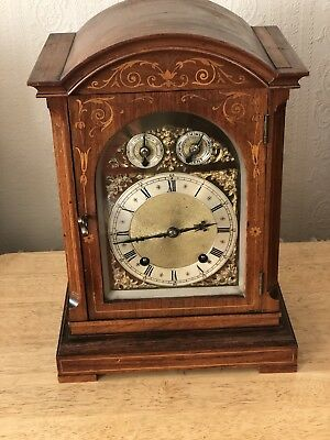 Rosewood Inlaid Bracket Clock With Brass Dial And Chimes