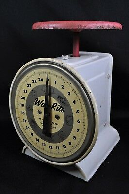 Antique Way-Rite Kitchen Scale~Metal~Red & White~Vintage Rustic Farmhouse~Works!