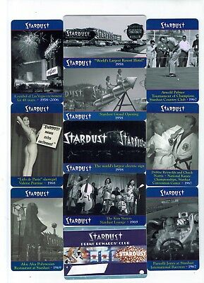 STARDUST Las Vegas Casino Hotel Room KEYS - Complete SET / Lot of 10 + SLOT CARD