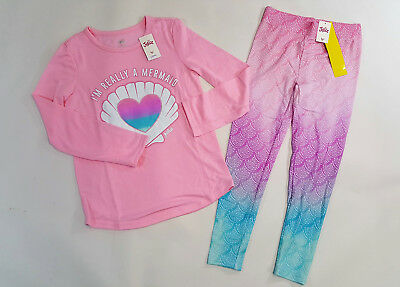 NWT Justice Kids Girls Size 6/7 8 10 or 12 Pink Ombre Mermaid Pant Pajamas Pjs