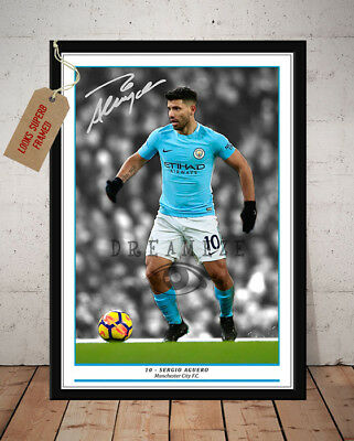 Sergio Aguero Manchester City Autographed Signed Football Photo Print