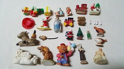 Vintage Lot of 27 Miniature Items--Ceramic, Resin, Plastic, Glass, Wood,