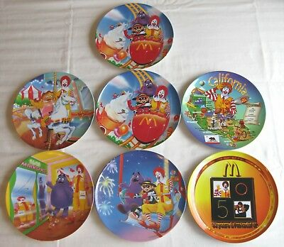 McDonald's~Set of 7 Plates~Carnival~50th Anniversary~California~Excellent