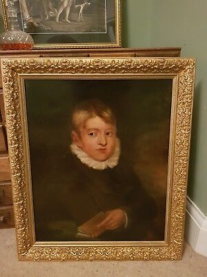 fine large antique 19th Century British oil painting young man school boy book