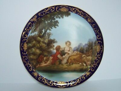 Antique Cobalt Blue Porcelain Plate People in Period Clothing Raised Gold Trim