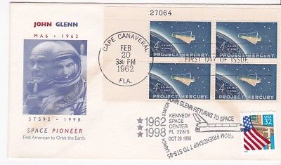 Sts-95 John Glenn Return To Space & Project Mercury Pb Fdc Double Cancel 62 & 98