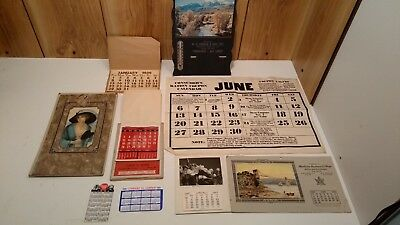 Lot of 10 vintage calendars 1924 to 1970, advertising, thermometer, WW2,toppers