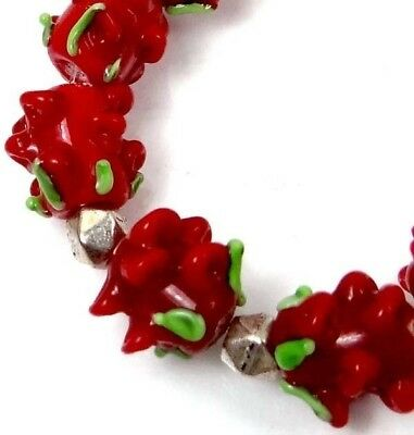 9 Lampwork Handmade Glass Beads Red  Rose Floral Beads 8x9mm