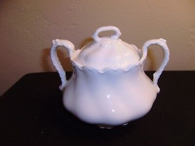 Vintage JOHNSON BROTHERS Large White Sugar Bowl with Lid  MINT