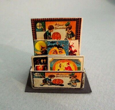 Dollhouse Miniature ~ Halloween ~ Vintage Greeting Cards ~ Counter Display