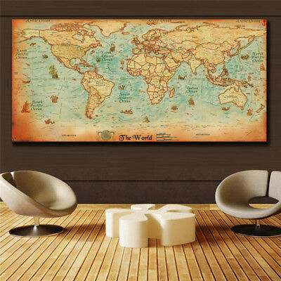 The old World Map large Vintage Style Retro Paper Poster Home decor  (31x63)