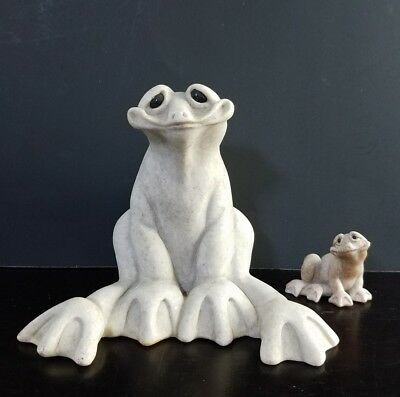 """STONE QUARRY CRITTERS 2001 """"Fabio"""" FROG Second Nature Designs Garden Frogs lot"""
