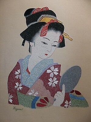 Antique Japanese Silk Embroidery Tapestry Metallic SIGNED Wood Framed GEISHA