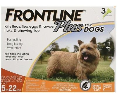 NEW Frontline Plus Flea Tick Control for Dogs Puppies up to 5 to 22lbs 3-doses