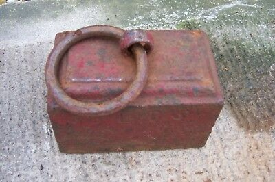 VINTAGE 56LB CAST IRON WEIGHT with ring Ideal for Gazebo, gate / door stop