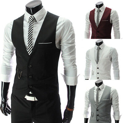 Men's Formal Business Slim Fit Chain Dress Vest Suit Tuxedo Waistcoat Trendy NEW