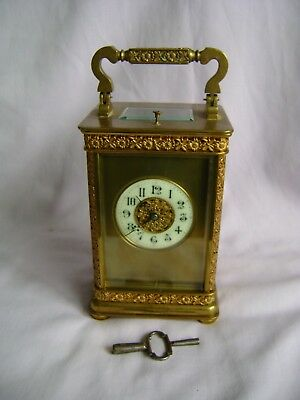 Antique French Ornate Repeater Carriage Clock Couaillet Freres In Gwo + Key