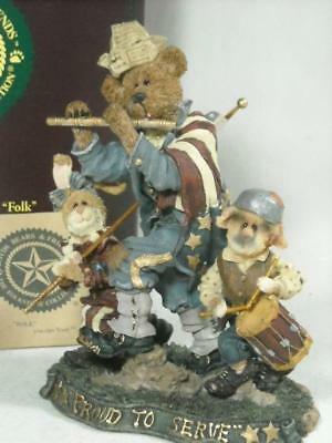 """1999 Boyds Folkstone #2886 """"sam, Libby And Ellis, Fife And Drum"""" Proud To Serve"""""""