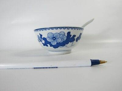Chinese Blue White Plum Porcelain Rice bowl and Matching Spoon 1970s