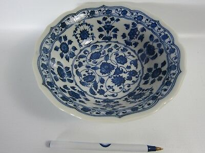 Chinese Blue  White Lotus Pattern Porcelain Charger Plate