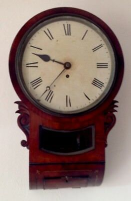 "19th C. DROP DIAL SINGLE FUSEE WALL CLOCK 8 DAY 10"" DIAL (MINOR RESTORATION )"