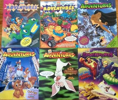 6 Burger King Kids Club Adventures Magazines 1993, 1996 & 1997  (New Old Stock)