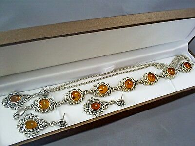 1990's VINTAGE HM STERLING SILVER BALTIC AMBER NECKLACE/BRACELET/DROP EAR RINGS