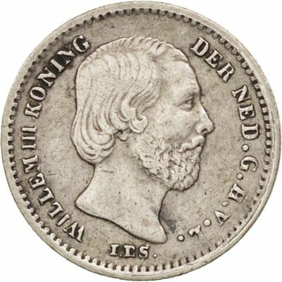 [#406828] Munten, Nederland, William III, 5 Cents, 1863, ZF+, Zilver, KM:91