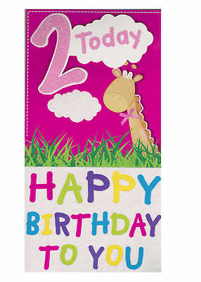 Age 2 2nd Birthday Card Girl Open For Daughter Sister Granddaughter Any