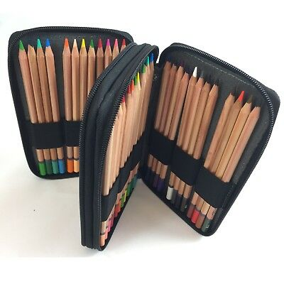Global Art Handcrafted Leather Pencil Case - Black - Holds 48 Pencils