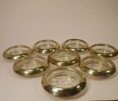 8 Vintage Sterling Silver Frame Cut Glass Center Coasters Frank M Whiting & Co.